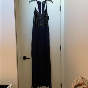 Astr Navy and black sequin maxi dress, never worn